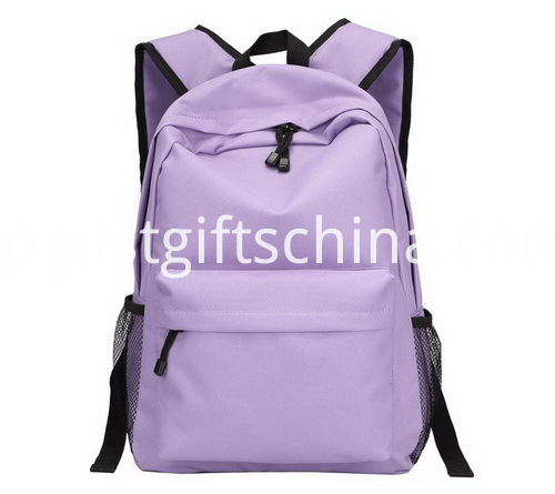 Promotional Canvas Backpack Purple Color W Strong Shoulder Straps