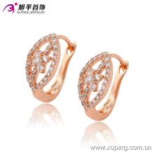 Moda Fancy CZ Diamond Rose Gold Color Imitación joyería Pendiente Huggies -90750