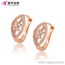 Fashion Fancy CZ Diamond Rose Gold Color Imitation Jewelry Earring Huggies -90750
