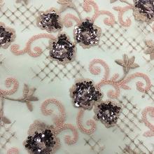 Tecido maravilhoso casamento com bordado de miçangas e lantejoulas