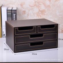 Caja de cuero de lujo del almacenaje de la oficina del cuero marrón