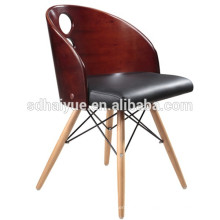Factory sell leather stackable Design useful upholstered plywood dining room chairs