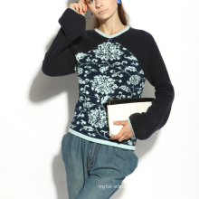 17PKCS169 2017 knit wool cashmere knitted lady sweater
