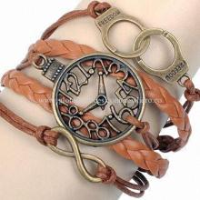 PU leather bracelet with alloy accessories and multilayer waxed cord, OEM/ODM orders are welcome