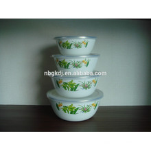 4 sets tazón de fuente de esmalte de hielo blanco con tapa PE
