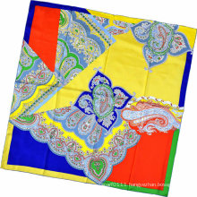 Lady Fashion Paisley Printed Square Silk Scarf (HC1315-3)