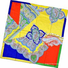 Lady Fashion Paisley Printed Square Silk Scarf (HC1315-3)