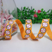 9mm Baseball Printed Grosgrain Ribbon, Yellow Ribbon Cartoon Hair Ornaments