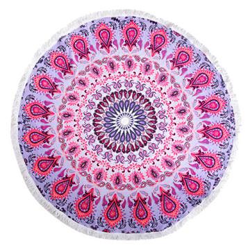 100% coton doux tissu rose cool modèle avec des glands serviette de plage ronde RBT-142