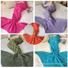 2017 New fashion ladies mermaid tail knit sofa blanket stock lot cozy tv blanket in home