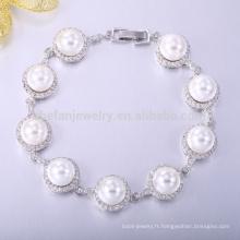Bracelet bijoux en or blanc avec des perles de bijoux Christian