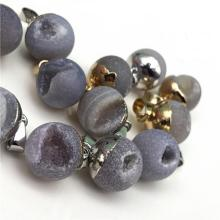 Natural Geode Druzy 15mm agate crystal  Ball Pendant Necklace for Unisex Gold & Silver Findings