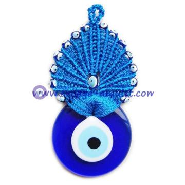 Evil Eye Blue Macrame Wall Hanging Amulet