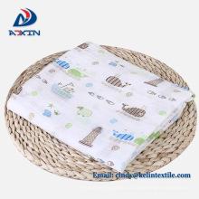 Manta de tela de muselina impresa 100% algodón para bebés