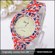 La bandera de Reino Unido del deporte de la aptitud inspiró el reloj vendedor caliente de la voga del hombre del cuarzo