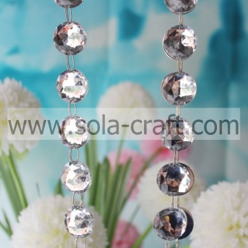 Hermosa 25MM Cut Faceted Octagon Bead Garland White Wedding Tree Garland con precio bajo