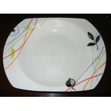 Variable Size Simple White Round Bottom&Leaves Decal Porcelain Plates