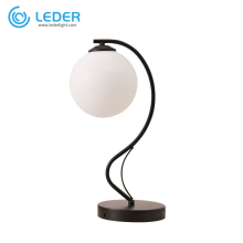 Lámpara de mesa redonda blanca de vidrio LEDER