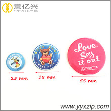 round metal tin pin badge for garments