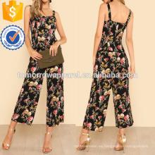 Floral con cordones en la parte superior delantera y pantalones anchos de pierna establecen la fabricación al por mayor de prendas de vestir de mujer de moda (TA4117SS)