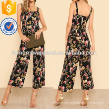 Floral Lace Up Front Top e perna larga Calças Set Fabricação Atacado Moda Feminina Vestuário (TA4117SS)