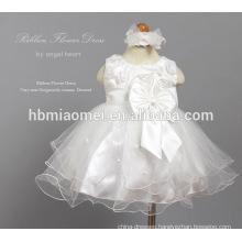 Sleeveless Flower Net Yarn Tulle Dress Toddler Boutique Outfits for Newborn Girls Baptism Dress