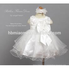 Рукавов цветок чистой пряжи тюль платье малыша бутик одежды для новорожденных девочек Крещение платье