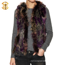 Fashion Winter Vest Factory Warm Real Raccoon And Rabiit Fur Vest for Girl