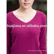 V neck woman's cashmere knitting sweater