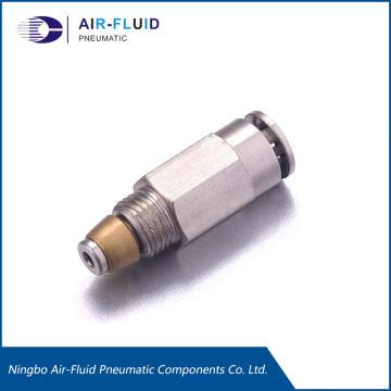 Válvula de retención de aire y fluido para distribuidores progresivos.