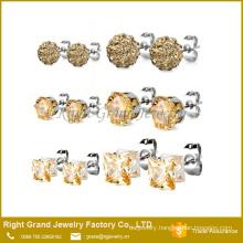 6mm 316L Stainless Steel Honey Peach Shamballa Earrings Cubic Zircon Ear Studs