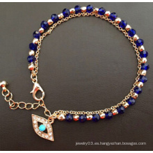 Evil Eye Glass Diamond azul chapado en oro pulsera (XBL13494)