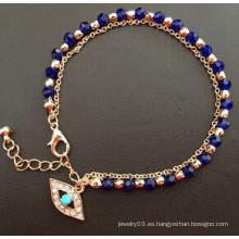 Evil Eye Glass Diamond azul chapado en oro pulsera (XBL13494)