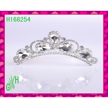 Cristal blanco al por mayor coronas y accesorios para el cabello tiaras