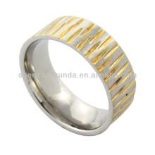 Dois tom Anel de aço inoxidável anel de fiação para o homem com gravado