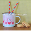 carbon steel flamingo enamel mug with high quality for europe