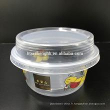 Tasses jetables en plastique claires de smoothie de la catégorie comestible de haute qualité 10oz / 290ml avec des couvercles pour la vente en gros