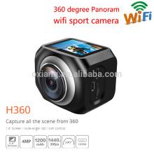 Cámara de acción portátil impermeable de los deportes 12MP / VR360 220 grados Cámara de vídeo ultra-ancha de la lente 30fps Wifi teledirigida