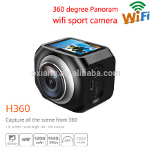 Waterproof 12MP/ VR360 portable sports action camera 220 degrees Ultra-Wide Lens 30fps Wifi watch remote controller video camera
