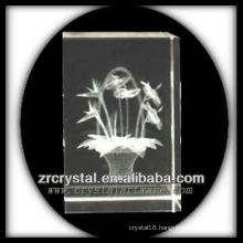 K9 3D Laser Etched Flower Inside Crystal Rectangle