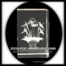 K9 3D gravada a laser flor dentro de cristal retângulo