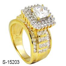 18k banhado a ouro jóias anel de prata esterlina