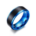 Cheap black and blue tungsten wedding bands