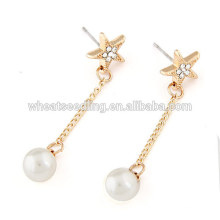 Star pearl earring with long pendent