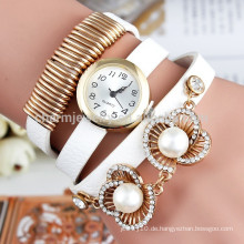 Neue 2015 Art- und Weisefrauen-Perlenarmbanduhren, Charme Quarz-Uhrdameart und weiseuhren lederner Bügel-beiläufige Armbanduhr BWL014