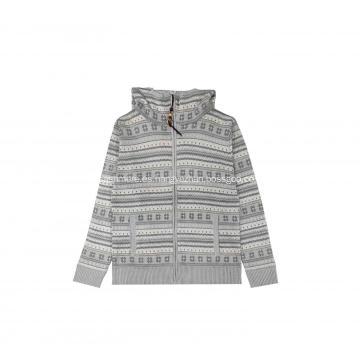Suéter de punto para hombre Snow Jacquard con capucha y cremallera completa