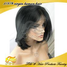 Atacado virgem brasileiro curto corte de cabelo humano peruca dianteira do laço perucas