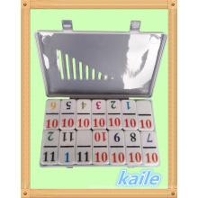 Double 12 Numero thème coloré domino dans une boîte en plastique