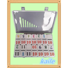 Double 12 Number theme colorful domino in plastic box