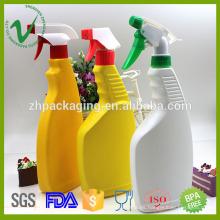 Botella de detergente plástica líquida vacía llena de HDPE con pulverizador de gatillo